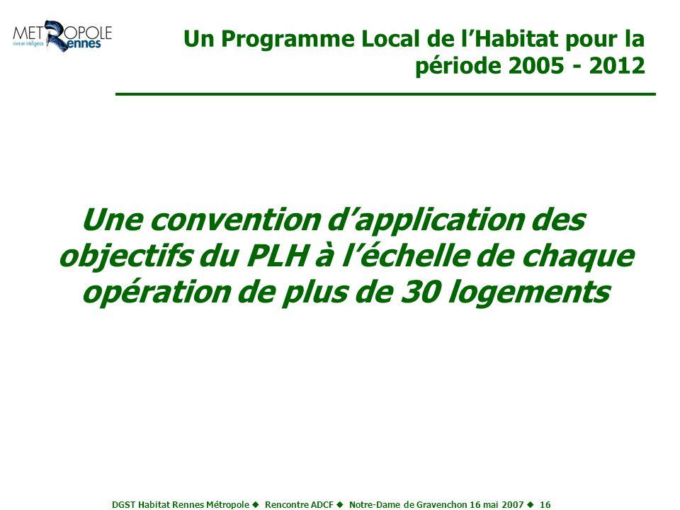 DGST Habitat Rennes Métropole Rencontre ADCF Notre-Dame de Gravenchon 16 mai 2007 16 Un Programme Local de lHabitat pour la période 2005 - 2012 Une co