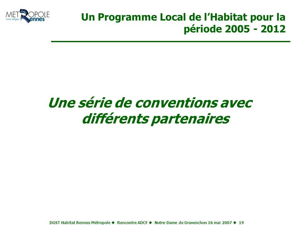 DGST Habitat Rennes Métropole Rencontre ADCF Notre-Dame de Gravenchon 16 mai 2007 19 Un Programme Local de lHabitat pour la période 2005 - 2012 Une sé