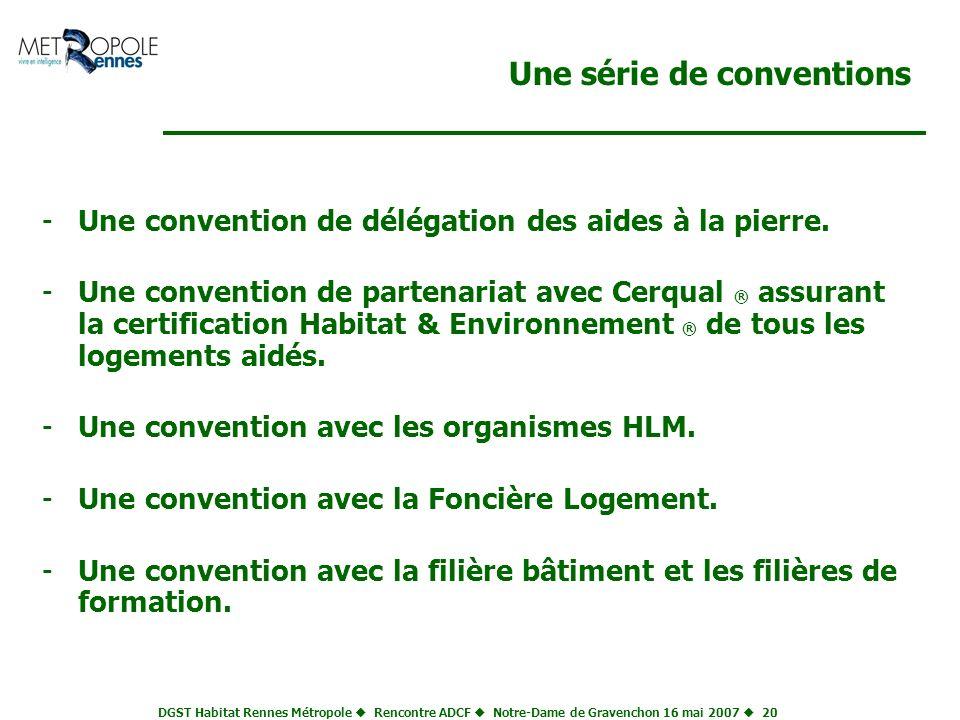 DGST Habitat Rennes Métropole Rencontre ADCF Notre-Dame de Gravenchon 16 mai 2007 20 Une série de conventions -Une convention de délégation des aides