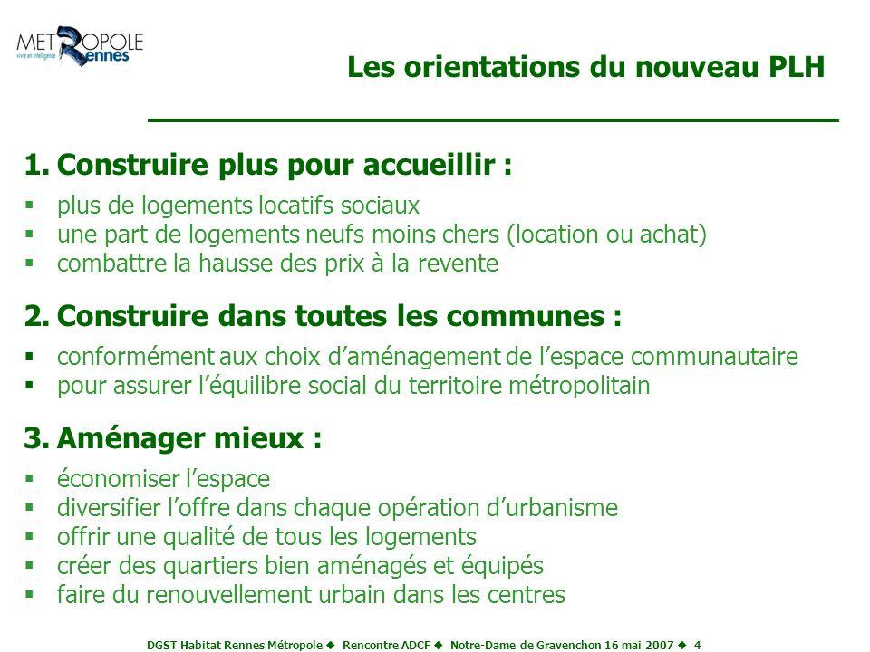 DGST Habitat Rennes Métropole Rencontre ADCF Notre-Dame de Gravenchon 16 mai 2007 5 Proposer une gamme complète de logements neufs dans chaque opération 4 500 logements par an 2 250 logements aidés 2 250 logements non aidés 1 125 locatif sociaux (PLUS - PLAI) (loyer max : 5 /m 2 /mois) 1 125 autres logements aidés accession sociale (pas plus de 1 900 /m 2 ) locatif conventionné (PLS) (loyer : 7,30 /m 2 /mois) locatif ( loyer : 9 /m 2 et plus...) accession ( à partir de 1 900 /m 2 ) dont des lots denses