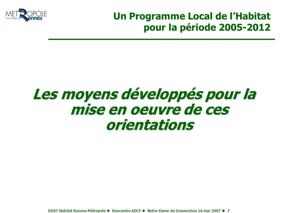 DGST Habitat Rennes Métropole Rencontre ADCF Notre-Dame de Gravenchon 16 mai 2007 7 Un Programme Local de lHabitat pour la période 2005-2012 Les moyen