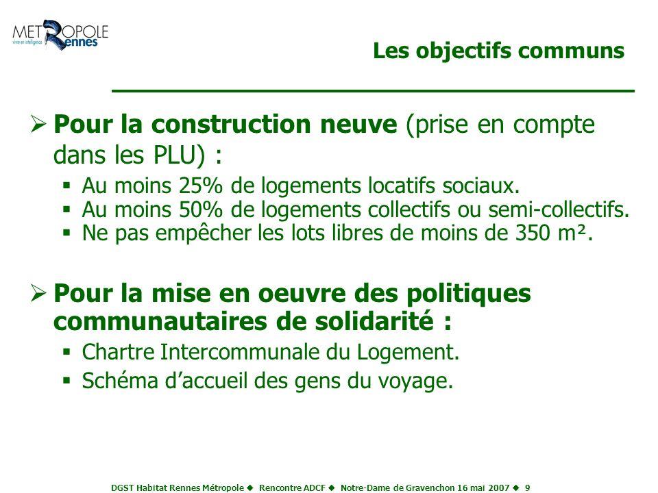 DGST Habitat Rennes Métropole Rencontre ADCF Notre-Dame de Gravenchon 16 mai 2007 9 Les objectifs communs Pour la construction neuve (prise en compte