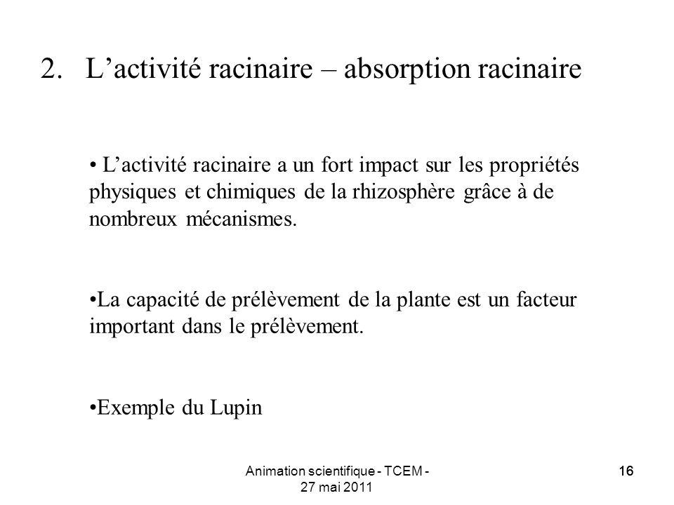 16 Animation scientifique - TCEM - 27 mai 2011 16 2.Lactivité racinaire – absorption racinaire Lactivité racinaire a un fort impact sur les propriétés