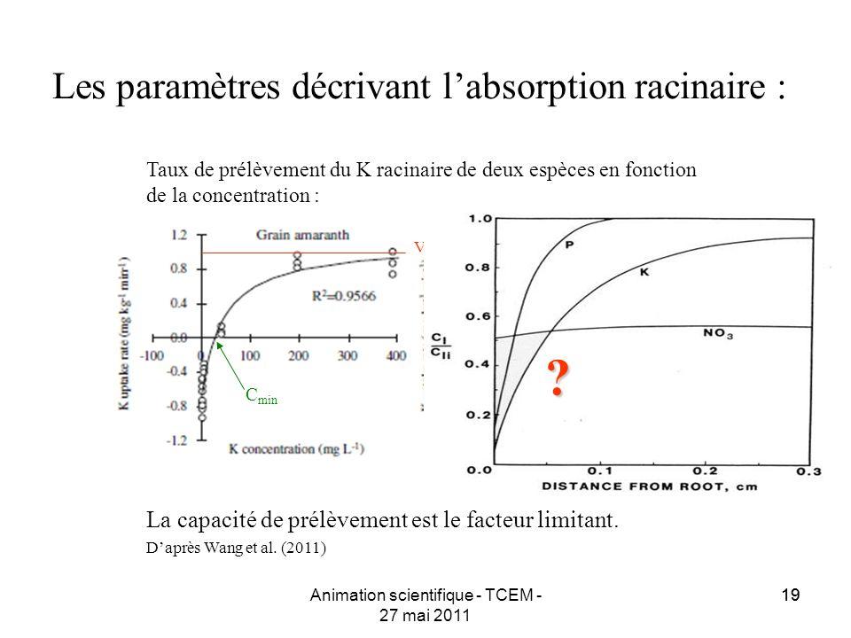 19 Les paramètres décrivant labsorption racinaire : Animation scientifique - TCEM - 27 mai 2011 Taux de prélèvement du K racinaire de deux espèces en