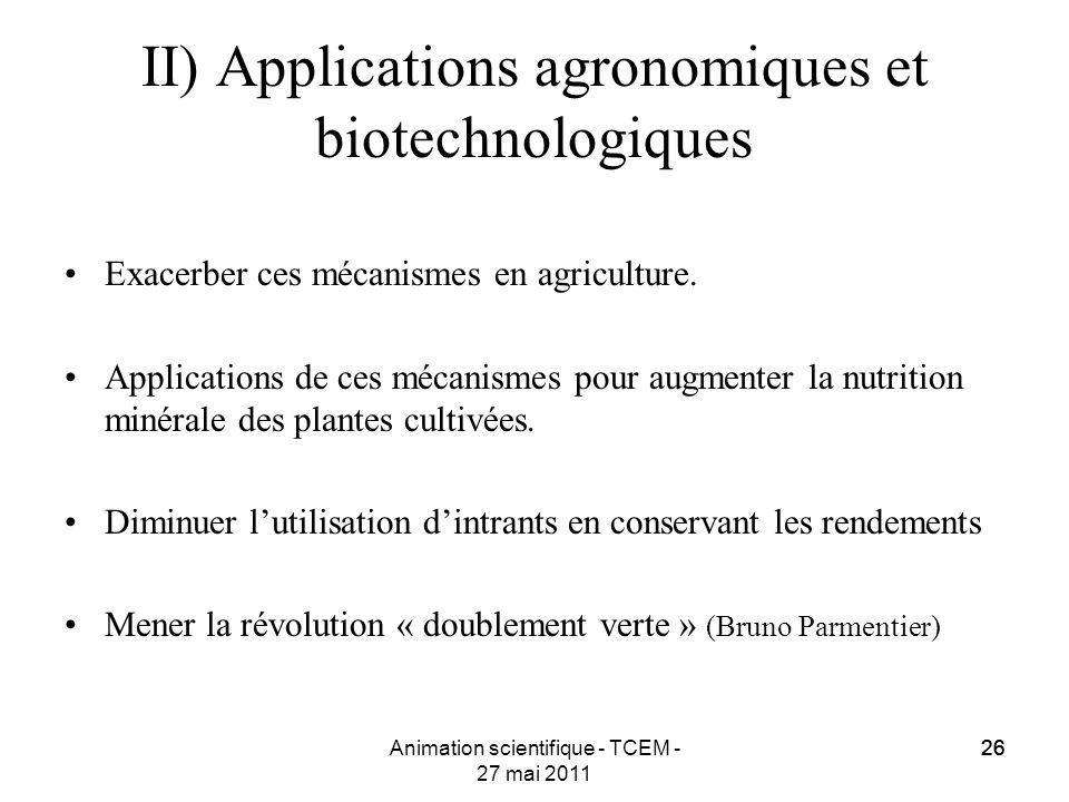 26 Animation scientifique - TCEM - 27 mai 2011 26 II) Applications agronomiques et biotechnologiques Exacerber ces mécanismes en agriculture. Applicat
