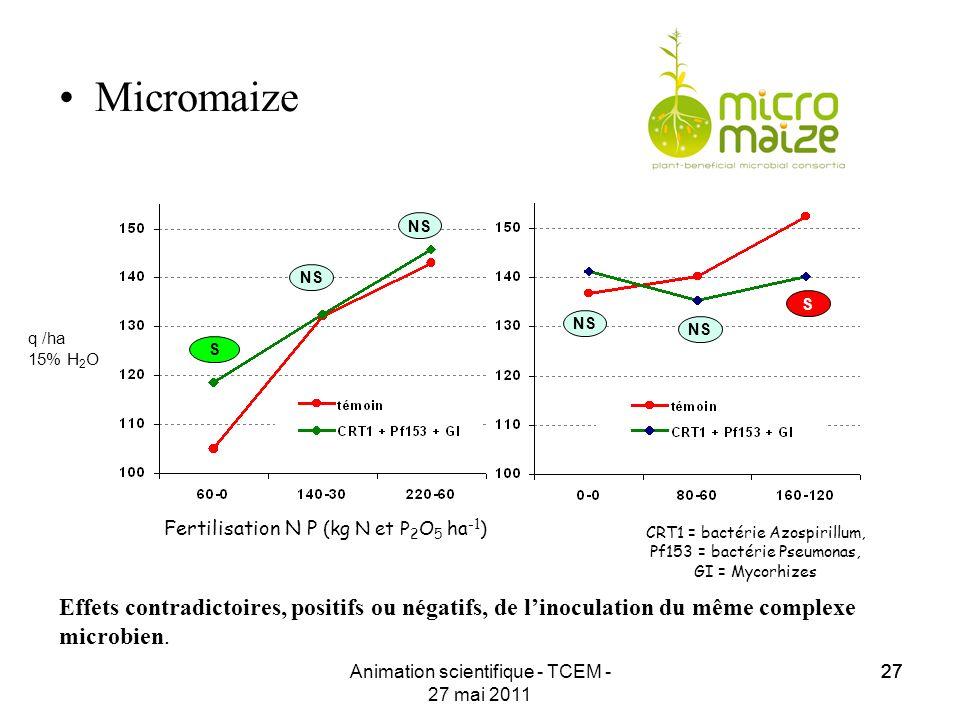 27 Animation scientifique - TCEM - 27 mai 2011 27 Micromaize Effets contradictoires, positifs ou négatifs, de linoculation du même complexe microbien.