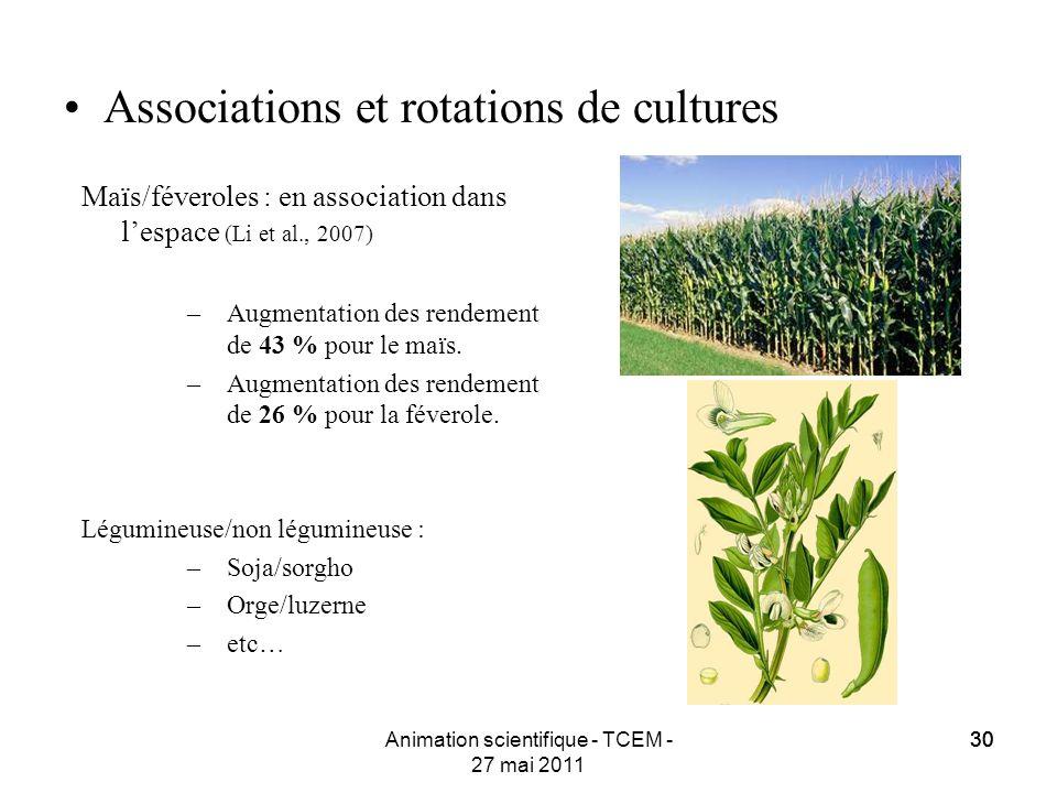 30 Animation scientifique - TCEM - 27 mai 2011 30 Associations et rotations de cultures Maïs/féveroles : en association dans lespace (Li et al., 2007)