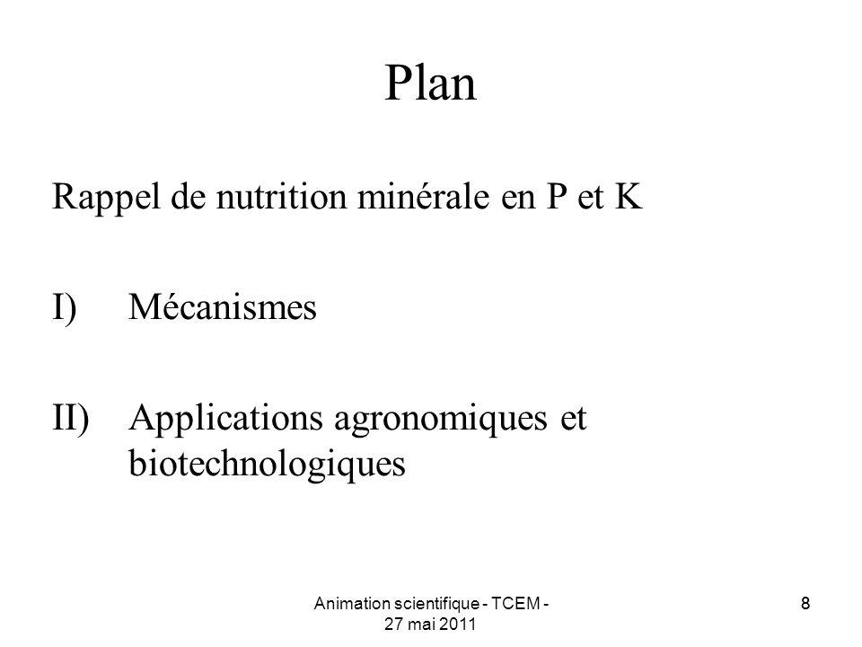 88 Plan Rappel de nutrition minérale en P et K I)Mécanismes II)Applications agronomiques et biotechnologiques Animation scientifique - TCEM - 27 mai 2