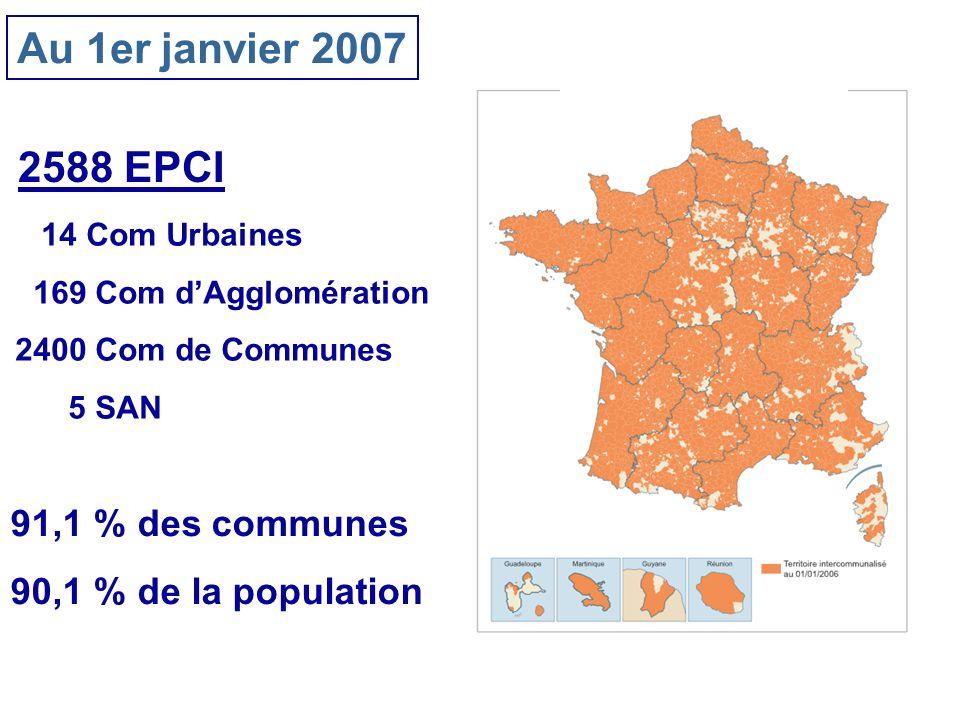 Au 1er janvier 2007 2588 EPCI 14 Com Urbaines 169 Com dAgglomération 2400 Com de Communes 5 SAN 91,1 % des communes 90,1 % de la population