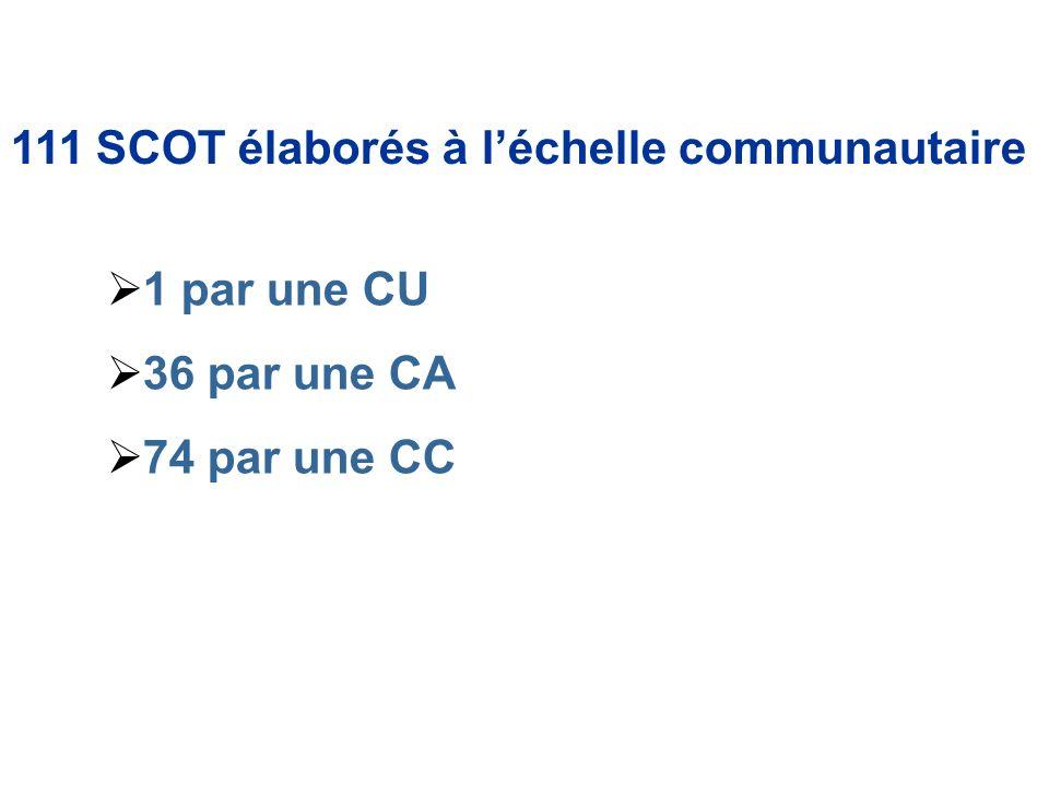 111 SCOT élaborés à léchelle communautaire 1 par une CU 36 par une CA 74 par une CC