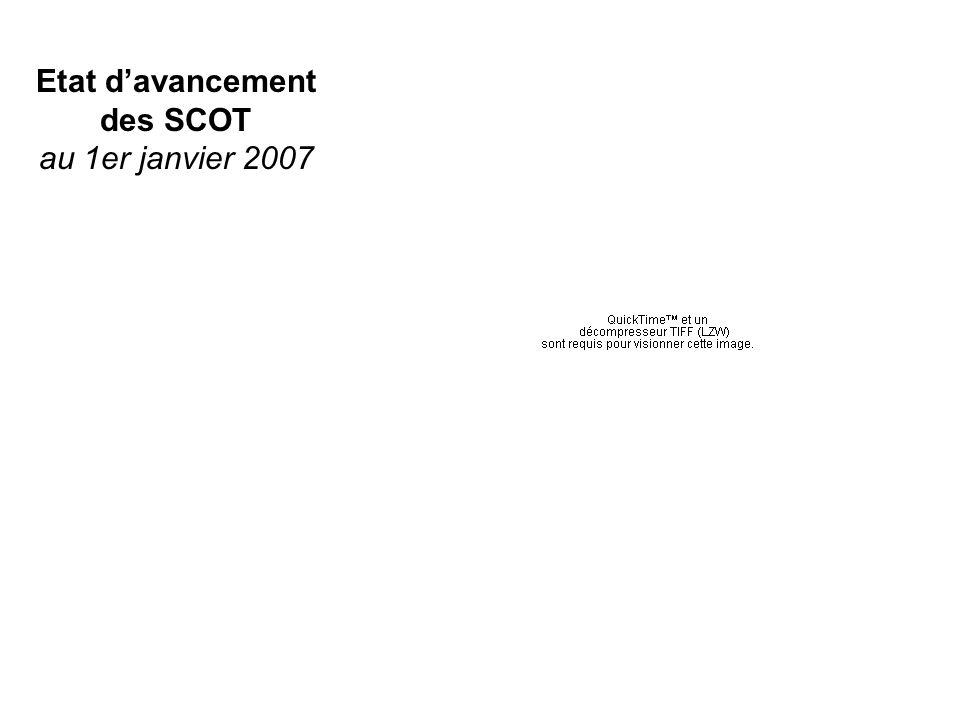 Etat davancement des SCOT au 1er janvier 2007