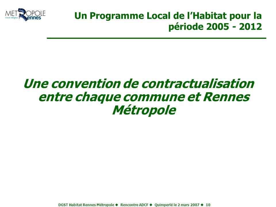 DGST Habitat Rennes Métropole Rencontre ADCF Quimperlé le 2 mars 2007 10 Un Programme Local de lHabitat pour la période 2005 - 2012 Une convention de