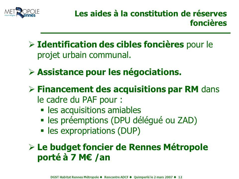 DGST Habitat Rennes Métropole Rencontre ADCF Quimperlé le 2 mars 2007 12 Les aides à la constitution de réserves foncières Identification des cibles f