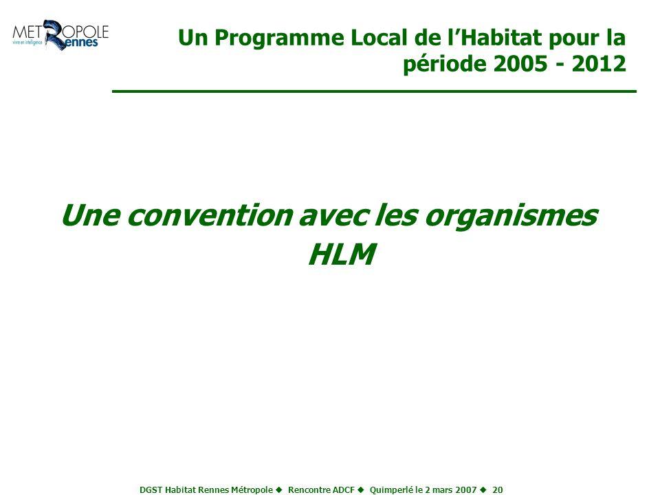 DGST Habitat Rennes Métropole Rencontre ADCF Quimperlé le 2 mars 2007 20 Un Programme Local de lHabitat pour la période 2005 - 2012 Une convention ave