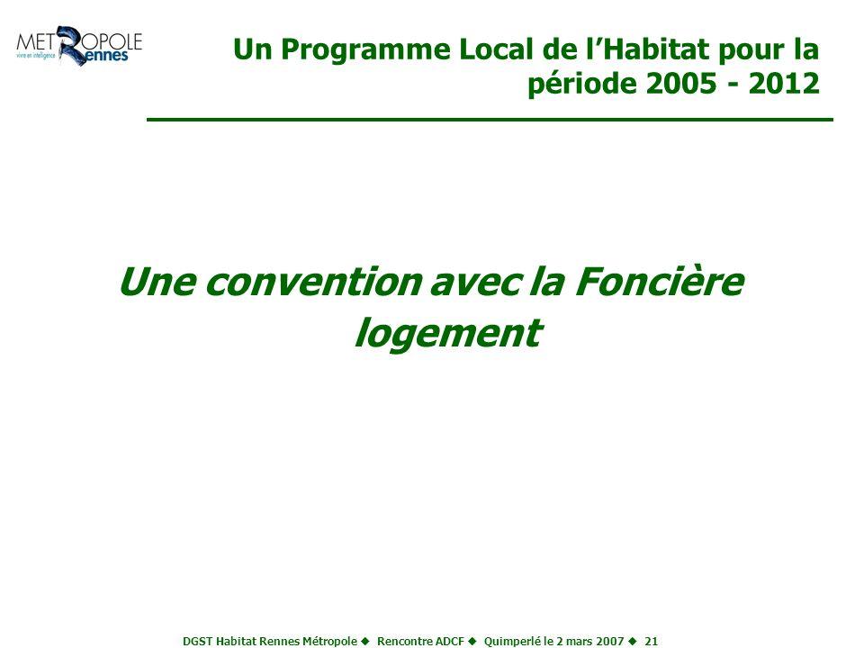 DGST Habitat Rennes Métropole Rencontre ADCF Quimperlé le 2 mars 2007 21 Un Programme Local de lHabitat pour la période 2005 - 2012 Une convention ave