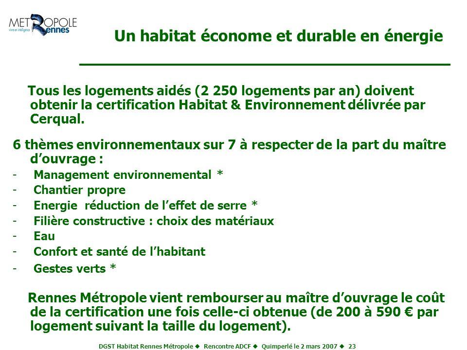 DGST Habitat Rennes Métropole Rencontre ADCF Quimperlé le 2 mars 2007 23 Un habitat économe et durable en énergie Tous les logements aidés (2 250 loge