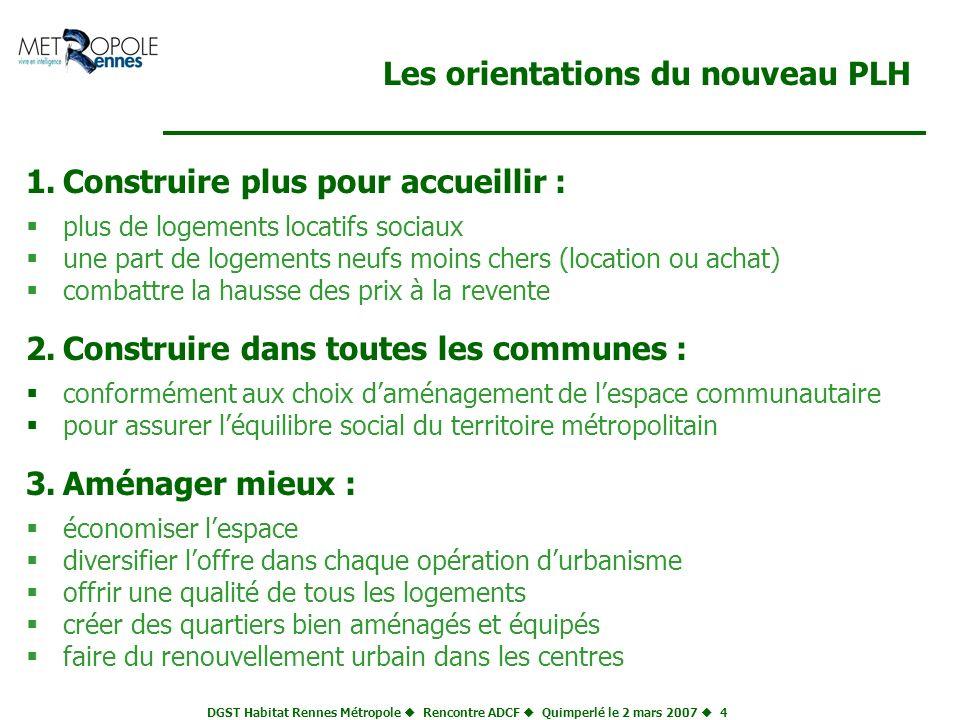 DGST Habitat Rennes Métropole Rencontre ADCF Quimperlé le 2 mars 2007 4 Les orientations du nouveau PLH 1.Construire plus pour accueillir : plus de lo