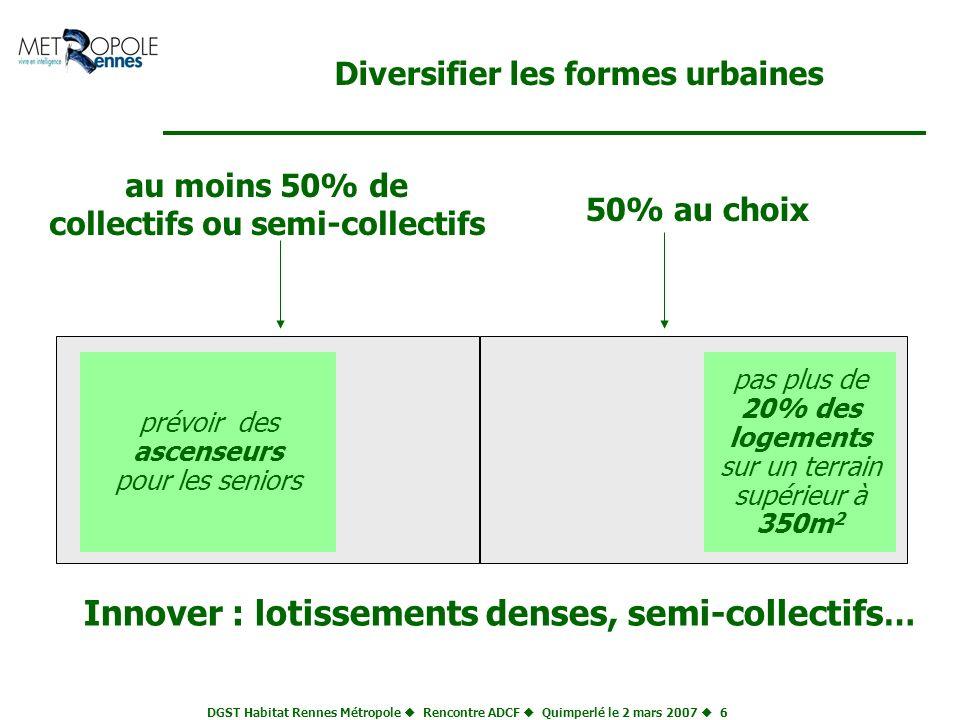 DGST Habitat Rennes Métropole Rencontre ADCF Quimperlé le 2 mars 2007 6 Diversifier les formes urbaines prévoir des ascenseurs pour les seniors pas pl