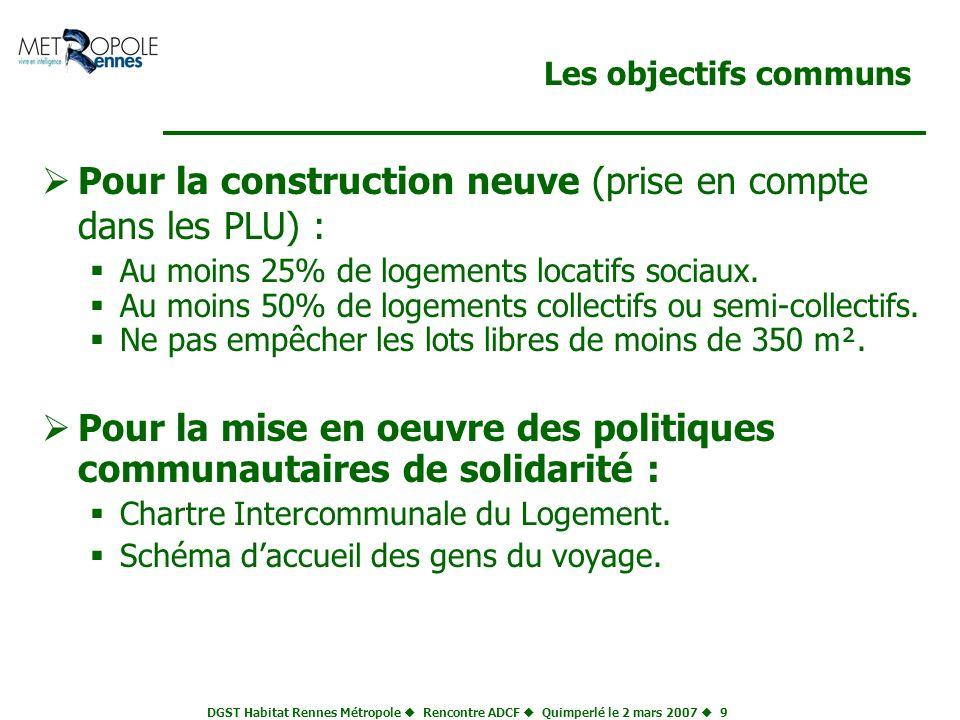 DGST Habitat Rennes Métropole Rencontre ADCF Quimperlé le 2 mars 2007 9 Les objectifs communs Pour la construction neuve (prise en compte dans les PLU