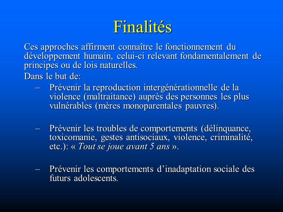 Finalités Ces approches affirment connaître le fonctionnement du développement humain, celui-ci relevant fondamentalement de principes ou de lois natu