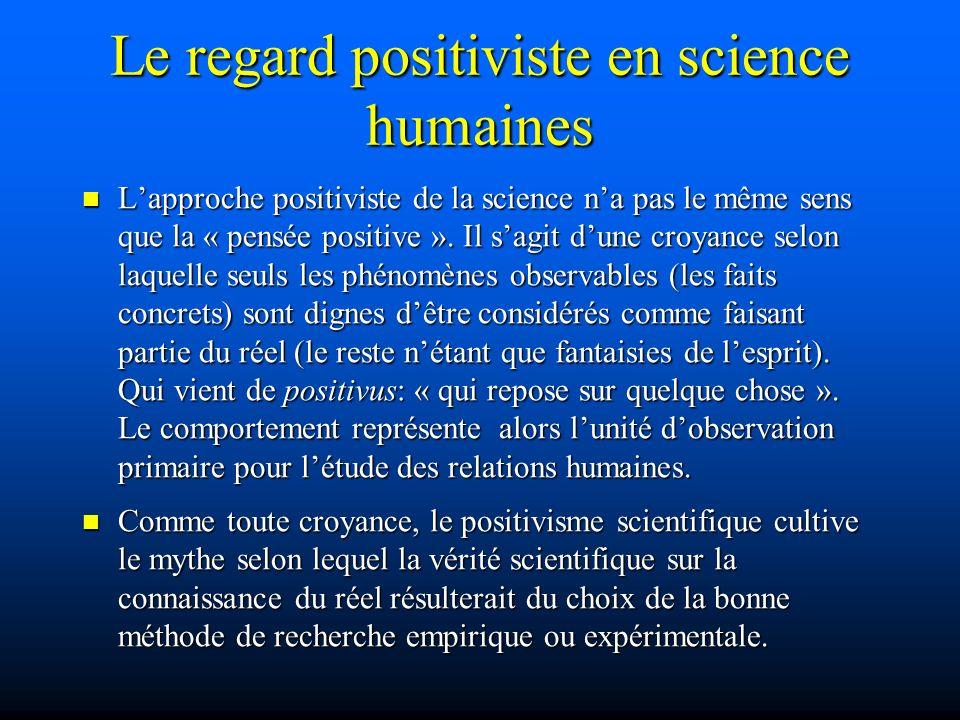 Le regard positiviste en science humaines Lapproche positiviste de la science na pas le même sens que la « pensée positive ». Il sagit dune croyance s