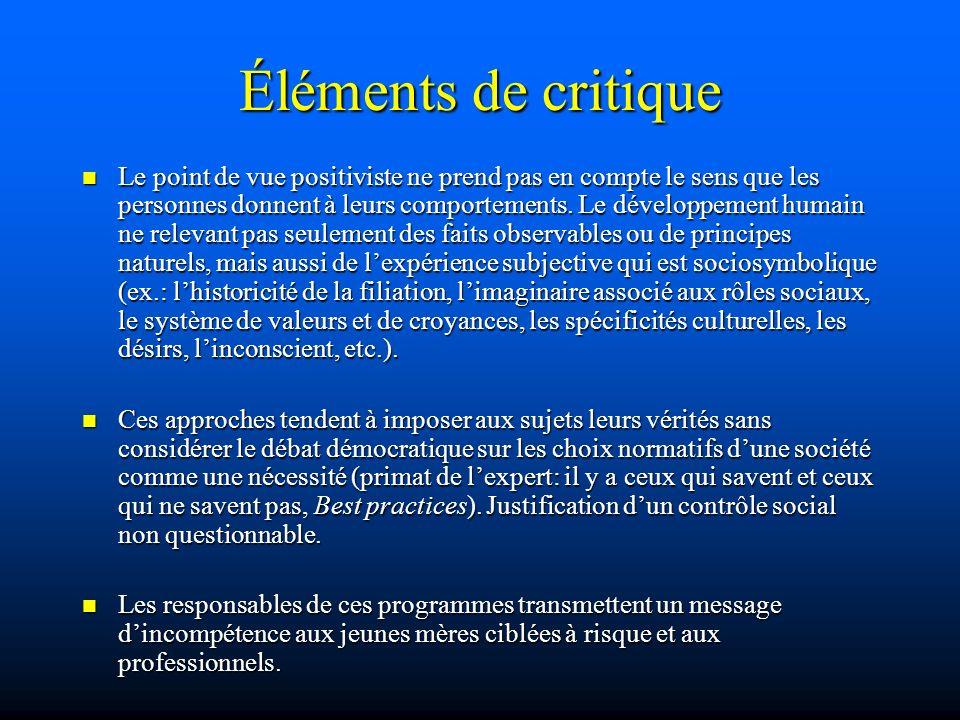 Éléments de critique Le point de vue positiviste ne prend pas en compte le sens que les personnes donnent à leurs comportements. Le développement huma