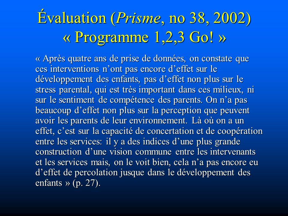 Évaluation (Prisme, no 38, 2002) « Programme 1,2,3 Go! » « Après quatre ans de prise de données, on constate que ces interventions nont pas encore def