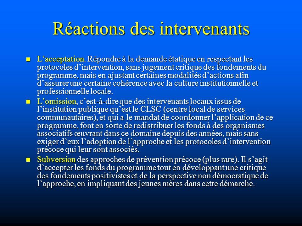 Réactions des intervenants Lacceptation. Répondre à la demande étatique en respectant les protocoles dintervention, sans jugement critique des fondeme