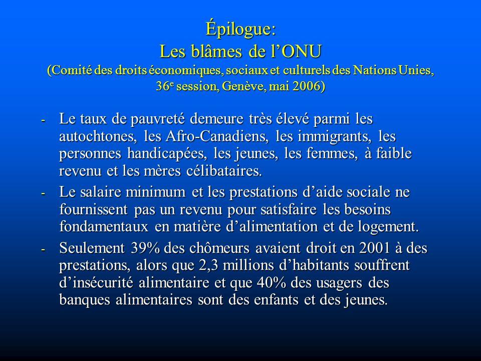 Épilogue: Les blâmes de lONU (Comité des droits économiques, sociaux et culturels des Nations Unies, 36 e session, Genève, mai 2006) - Le taux de pauv