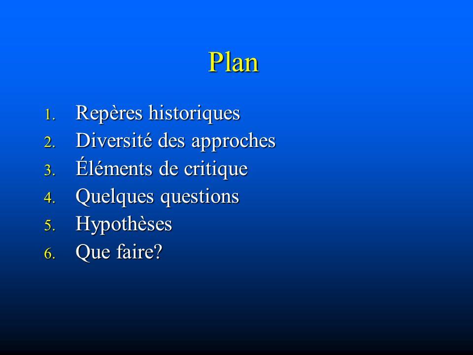 Plan 1. Repères historiques 2. Diversité des approches 3. Éléments de critique 4. Quelques questions 5. Hypothèses 6. Que faire?