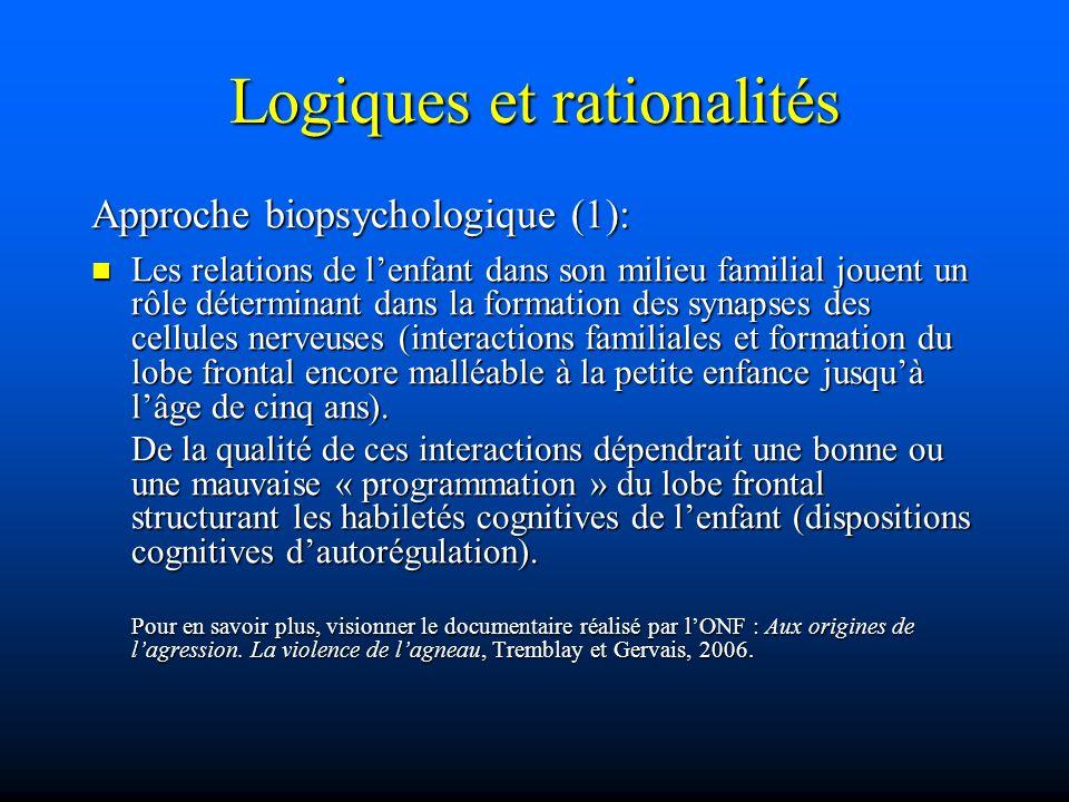 Logiques et rationalités Approche biopsychologique (1): Les relations de lenfant dans son milieu familial jouent un rôle déterminant dans la formation