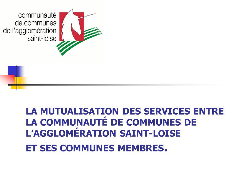 LA MUTUALISATION DES SERVICES ENTRE LA COMMUNAUTÉ DE COMMUNES DE LAGGLOMÉRATION SAINT-LOISE ET SES COMMUNES MEMBRES.