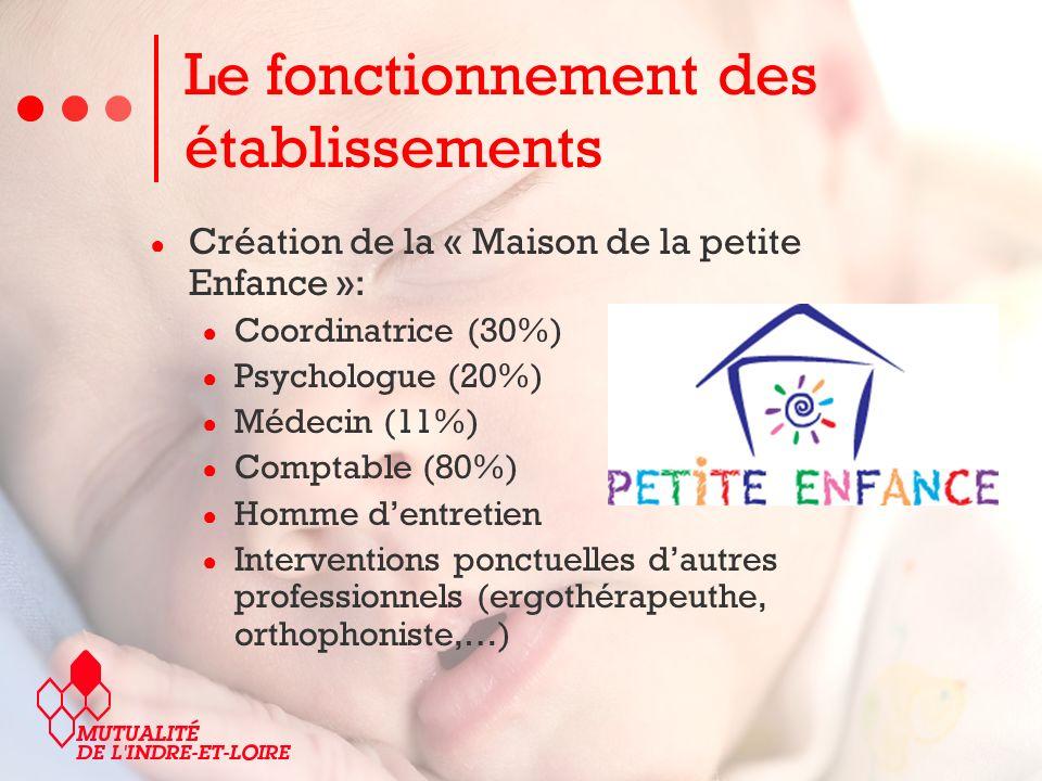 Création de la « Maison de la petite Enfance »: Coordinatrice (30%) Psychologue (20%) Médecin (11%) Comptable (80%) Homme dentretien Interventions ponctuelles dautres professionnels (ergothérapeuthe, orthophoniste,…) Le fonctionnement des établissements