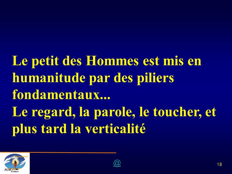 @ 18 Le petit des Hommes est mis en humanitude par des piliers fondamentaux... Le regard, la parole, le toucher, et plus tard la verticalité