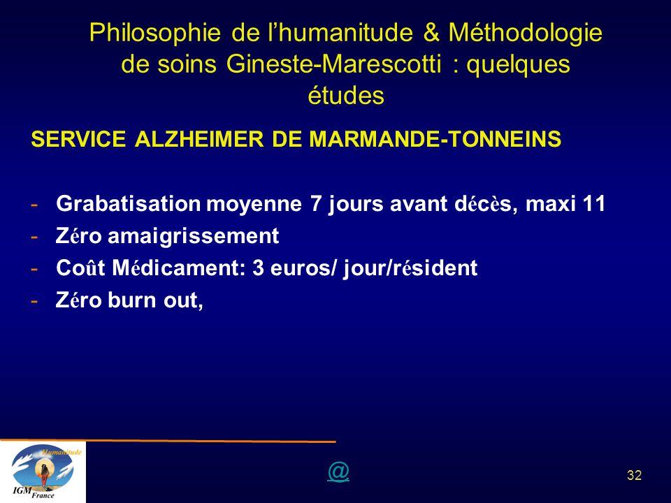 @ 32 Philosophie de lhumanitude & Méthodologie de soins Gineste-Marescotti : quelques études SERVICE ALZHEIMER DE MARMANDE-TONNEINS -Grabatisation moy