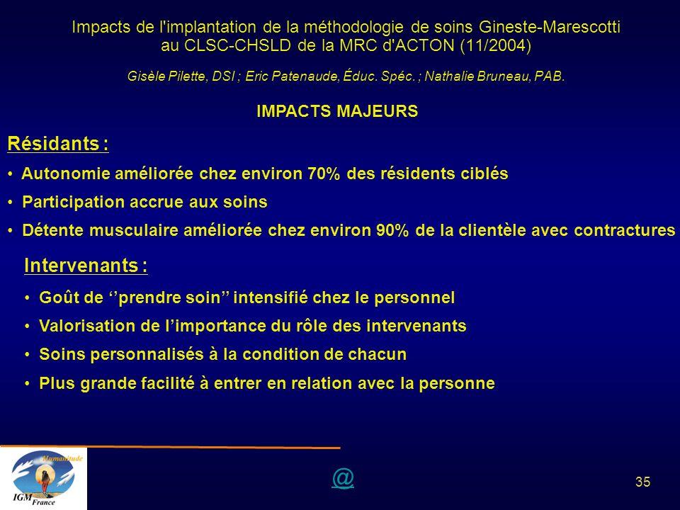 @ 35 Impacts de l'implantation de la méthodologie de soins Gineste-Marescotti au CLSC-CHSLD de la MRC d'ACTON (11/2004) Gisèle Pilette, DSI ; Eric Pat