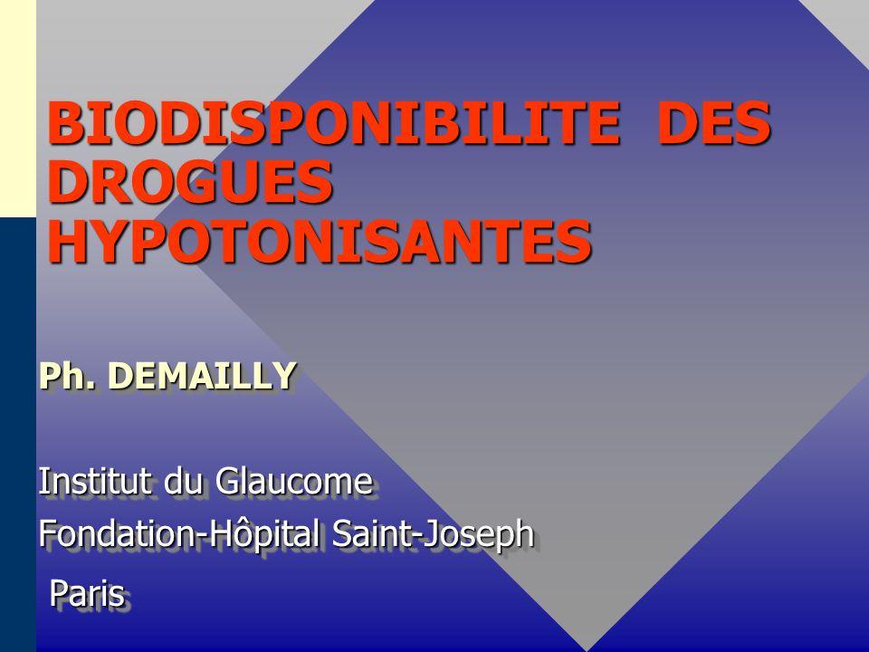 BIODISPONIBILITE DES PROSTAGLANDINES Latanoprost Latanoprost ( PGF2 - Isopropyl - ester ) ( PGF2 - Isopropyl - ester ) * Absorption oculaire * Absorption oculaire - Prodrogue lipophile ++ - Prodrogue lipophile ++ - hydrolyse dans la cornée en acide biologiquement actif - hydrolyse dans la cornée en acide biologiquement actif