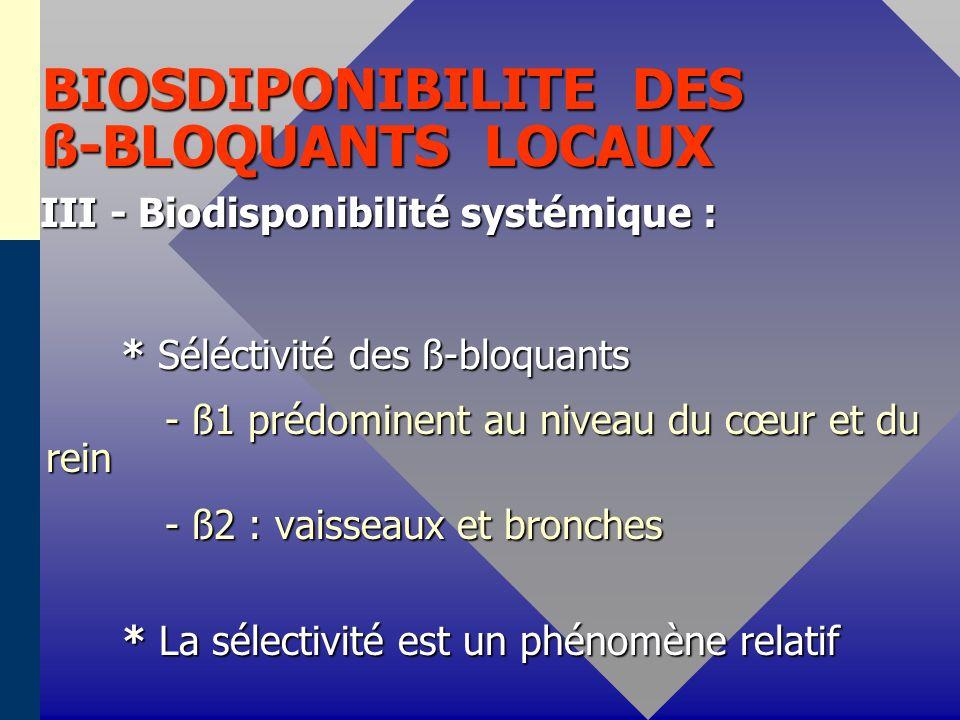 BIOSDIPONIBILITE DES ß-BLOQUANTS LOCAUX III - Biodisponibilité systémique : * Séléctivité des ß-bloquants * Séléctivité des ß-bloquants - ß1 prédominent au niveau du cœur et du rein - ß1 prédominent au niveau du cœur et du rein - ß2 : vaisseaux et bronches - ß2 : vaisseaux et bronches * La sélectivité est un phénomène relatif * La sélectivité est un phénomène relatif