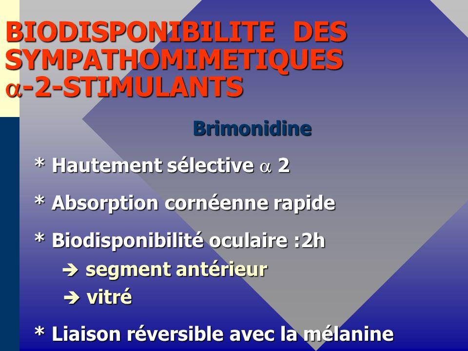 BIODISPONIBILITE DES SYMPATHOMIMETIQUES -2-STIMULANTS Brimonidine Brimonidine * Hautement sélective 2 * Hautement sélective 2 * Absorption cornéenne r