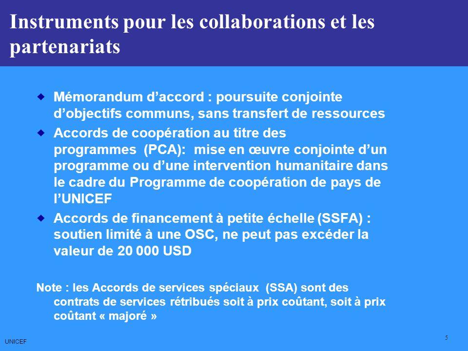 UNICEF 5 CCCs: Core Commitments for Children Mémorandum daccord : poursuite conjointe dobjectifs communs, sans transfert de ressources Accords de coopération au titre des programmes (PCA): mise en œuvre conjointe dun programme ou dune intervention humanitaire dans le cadre du Programme de coopération de pays de lUNICEF Accords de financement à petite échelle (SSFA) : soutien limité à une OSC, ne peut pas excéder la valeur de 20 000 USD Note : les Accords de services spéciaux (SSA) sont des contrats de services rétribués soit à prix coûtant, soit à prix coûtant « majoré » Instruments pour les collaborations et les partenariats