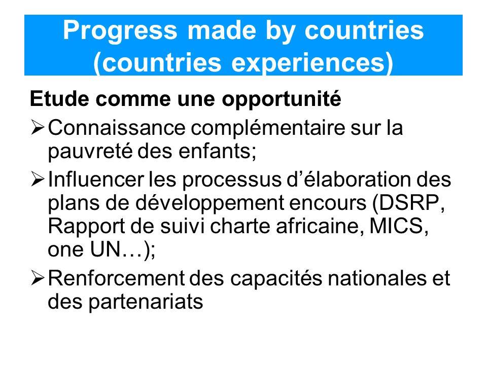 Progress made by countries (countries experiences) Etude comme une opportunité Connaissance complémentaire sur la pauvreté des enfants; Influencer les