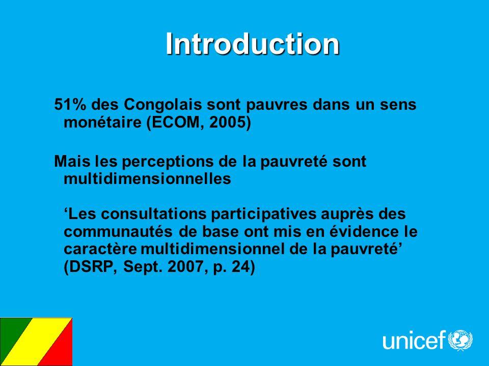 Introduction 51% des Congolais sont pauvres dans un sens monétaire (ECOM, 2005) Mais les perceptions de la pauvreté sont multidimensionnelles Les cons