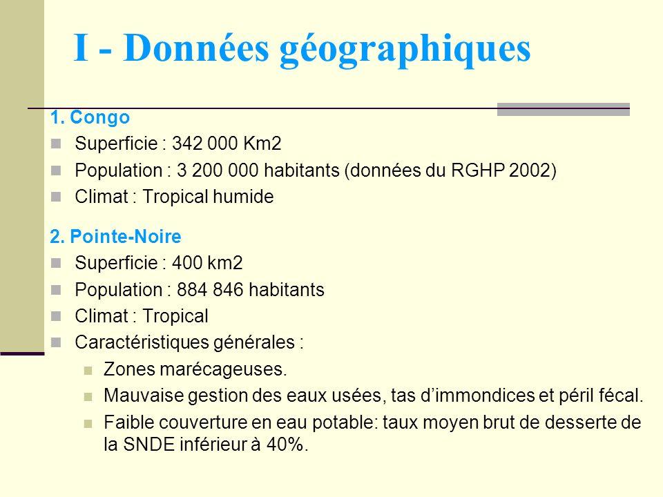 I - Données géographiques 1. Congo Superficie : 342 000 Km2 Population : 3 200 000 habitants (données du RGHP 2002) Climat : Tropical humide 2. Pointe