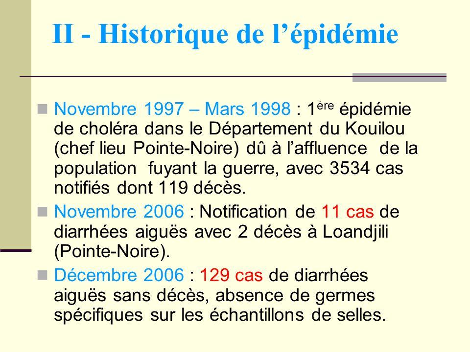 II - Historique de lépidémie Novembre 1997 – Mars 1998 : 1 ère épidémie de choléra dans le Département du Kouilou (chef lieu Pointe-Noire) dû à lafflu