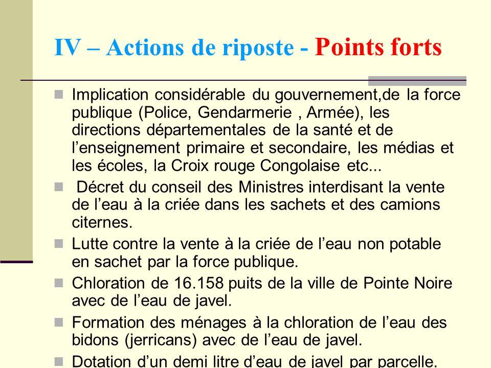 IV – Actions de riposte - Points forts Implication considérable du gouvernement,de la force publique (Police, Gendarmerie, Armée), les directions dépa