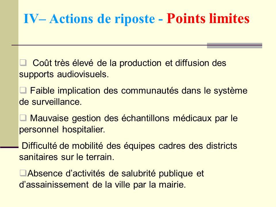 IV– Actions de riposte - Points limites Coût très élevé de la production et diffusion des supports audiovisuels. Faible implication des communautés da