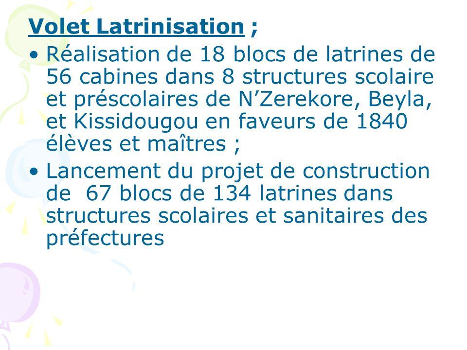 Volet Latrinisation ; Réalisation de 18 blocs de latrines de 56 cabines dans 8 structures scolaire et préscolaires de NZerekore, Beyla, et Kissidougou