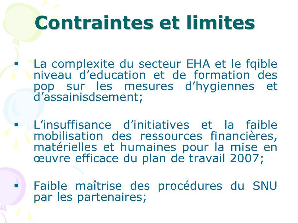 Contraintes et limites La complexite du secteur EHA et le fqible niveau deducation et de formation des pop sur les mesures dhygiennes et dassainisdsem
