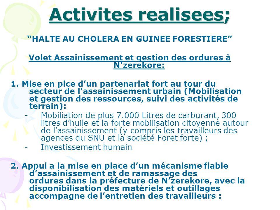Activites realisees; HALTE AU CHOLERA EN GUINEE FORESTIERE Volet Assainissement et gestion des ordures à Nzerekore: 1. Mise en plce dun partenariat fo