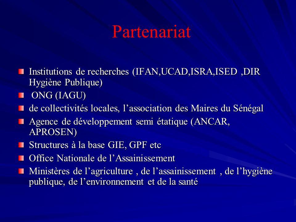 Institutions de recherches (IFAN,UCAD,ISRA,ISED,DIR Hygiène Publique) ONG (IAGU) ONG (IAGU) de collectivités locales, lassociation des Maires du Sénég
